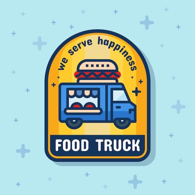 Food truck service badge banner Premium Vector