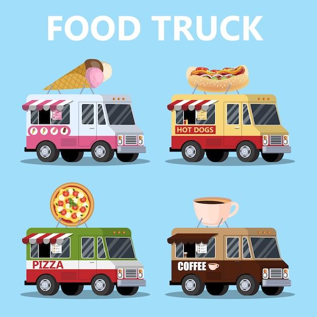 フードトラックセット。ピザ、アイスクリーム、ホットドッグ Premiumベクター