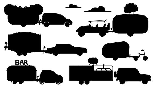 Еда грузовик силуэт. улица есть караван мобильный ресторанный комплекс. изолированные бар, кафе, кафе на колесах плоский значок коллекции. перевозка прицепов, доставка еды и напитков Premium векторы