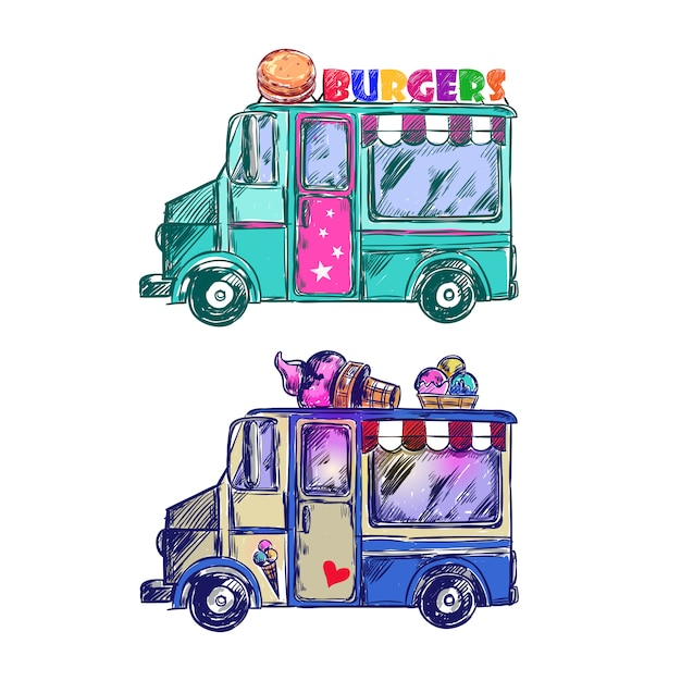 Эскиз food truck Бесплатные векторы