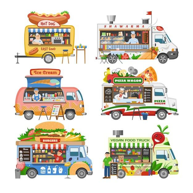 음식 트럭 길거리 음식 트럭 차량 및 흰색 배경에 Foodtruck에서 판매하는 남자 캐릭터의 핫도그 또는 피자 일러스트 세트와 패스트 푸드 배달 운송 프리미엄 벡터