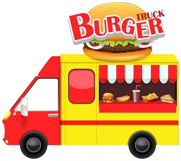 Продовольственный грузовик с гамбургером и другим фастфудом Бесплатные векторы