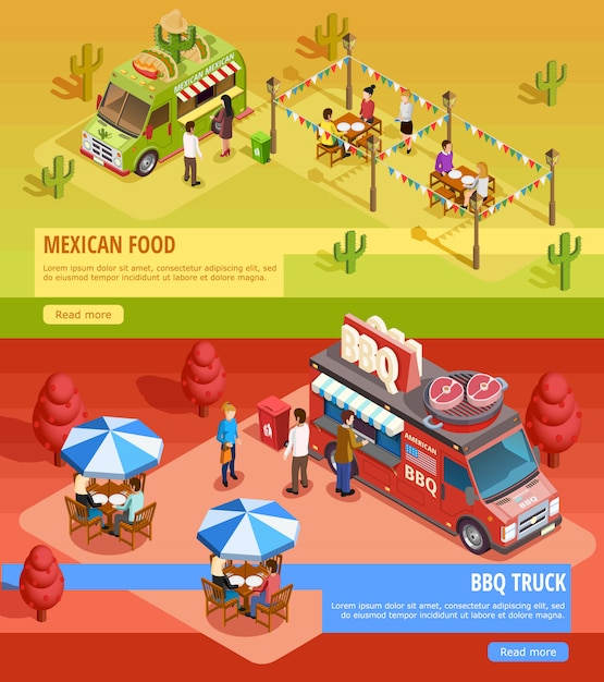 Food trucks 2 horizontal isometric banners Free Vector