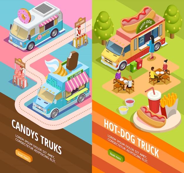 Food trucks 2 vertical  isometric banners Free Vector