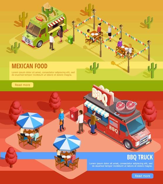Food trucks 2 горизонтальные изометрические баннеры Бесплатные векторы