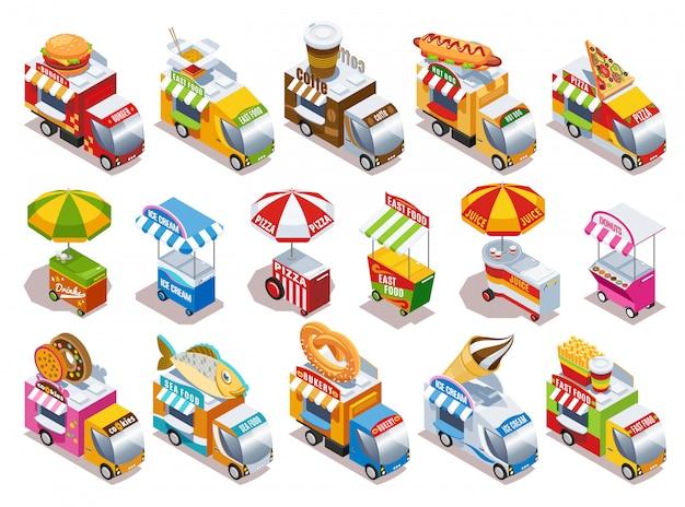 フードトラックとファーストフードドリンクとアイスクリーム等尺性のアイコンを販売するストリートカートセット分離ベクトルイラスト 無料ベクター