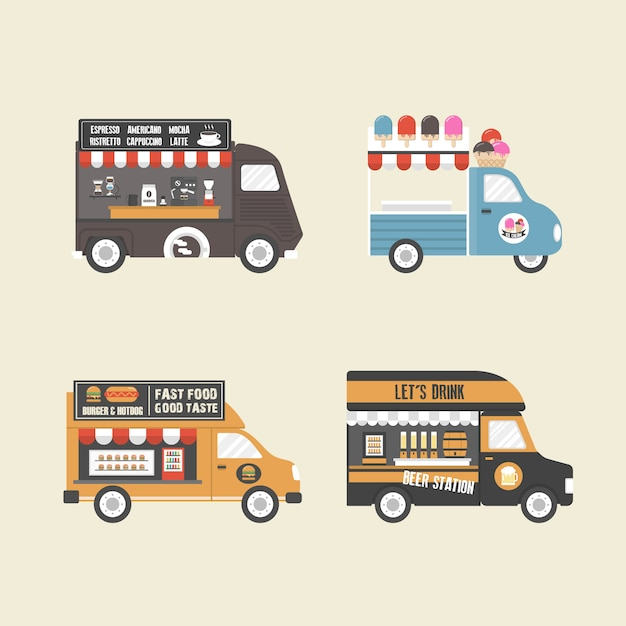 Food trucks collection Free Vector