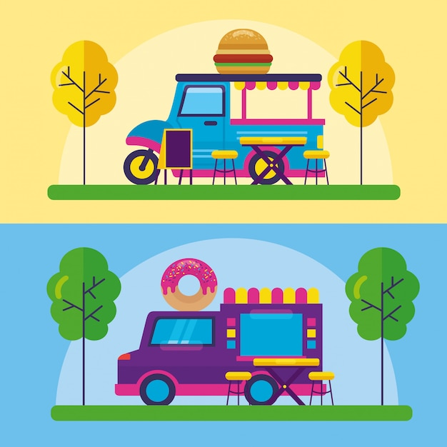 Food trucks festival flat design Free Vector