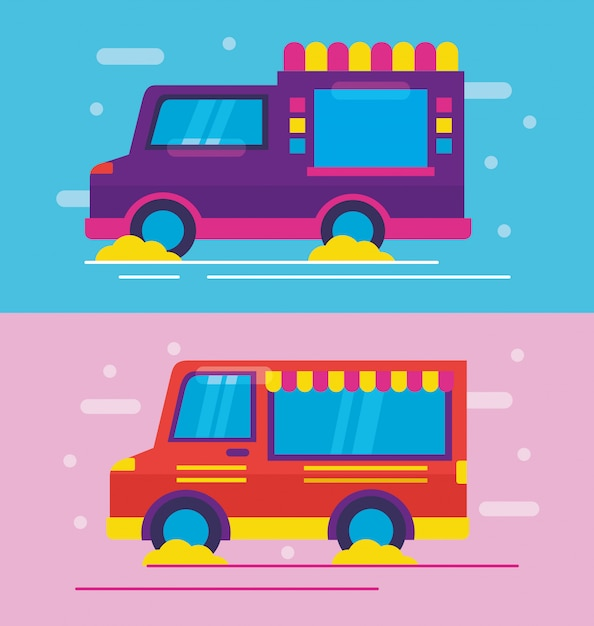 Food trucks in flat style Free Vector