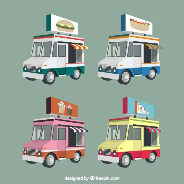 Food trucks in 3d pack