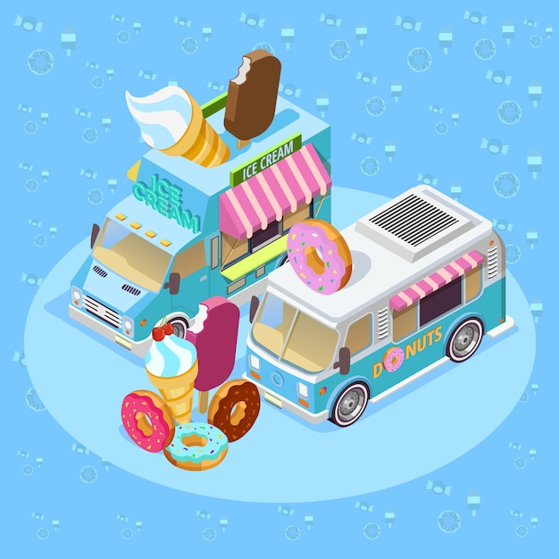 Food trucks isometric composition poster Free Vector