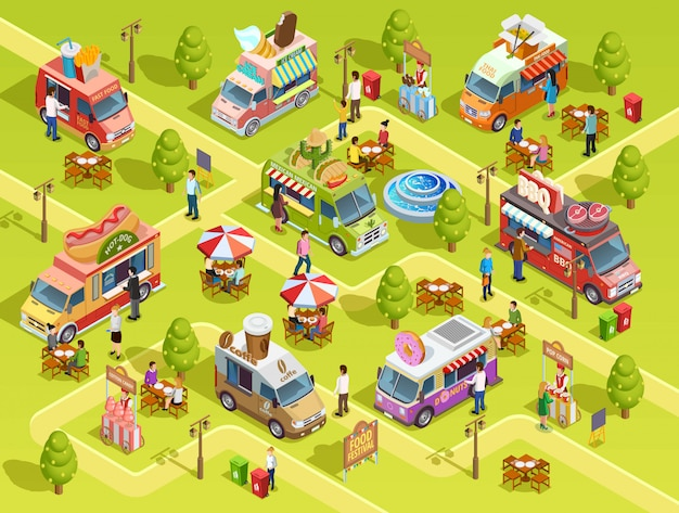 Food trucks outdoors isometric composition poster Free Vector