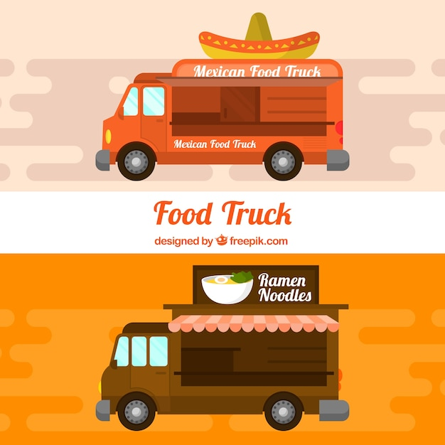 Food trucks with mexican and asian food