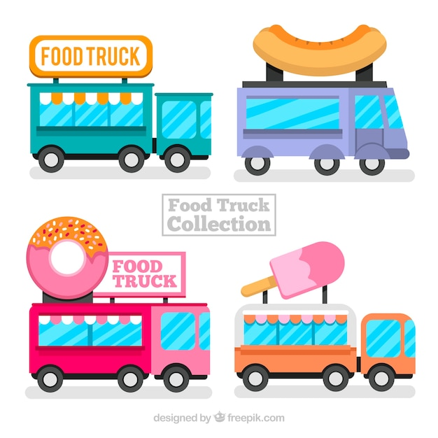 Food trucks with variety of food
