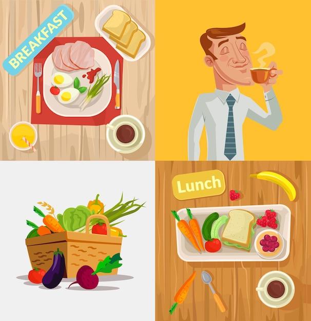 Food vector cartoon illustration set Premium Vector