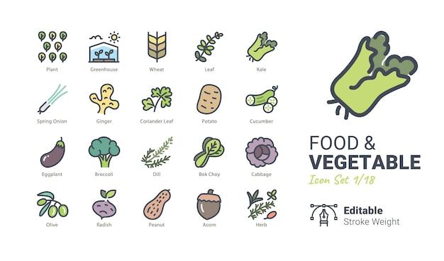 Food & vegetable vector icons Premium Vector