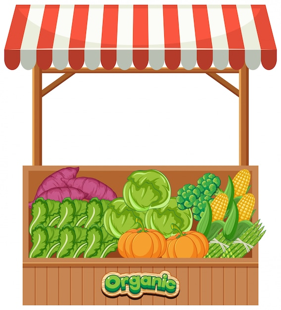 Food vendor full of fresh organic vegetables Free Vector