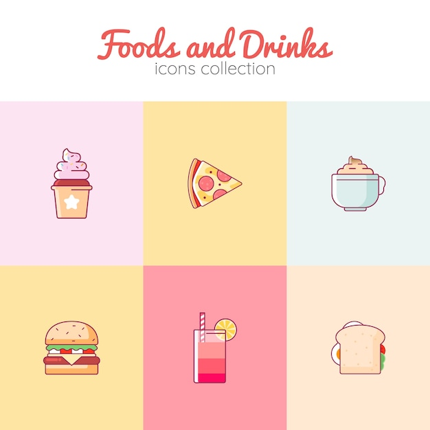 Foods and drinks icons collection Premium Vector