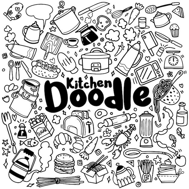Foods and kitchen doodles Premium Vector