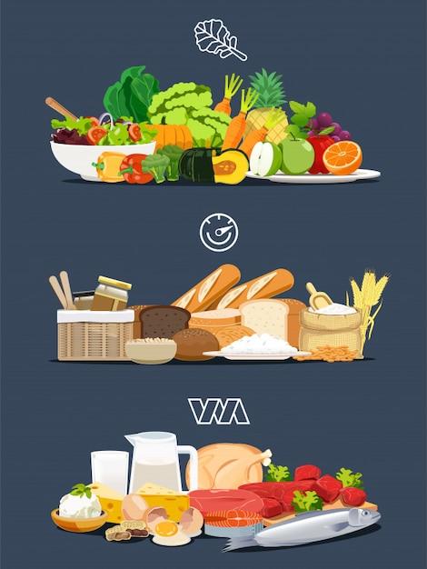 Foods with health benefits Premium Vector