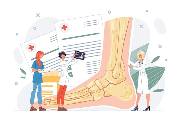 Foot or ankle examination. lower extremity trauma, pathology illness discomfort or sprain diagnosis, treatment procedure. podiatrist doctor nurse team. body healthcare, rehabilitation. traumatology Premium Vector