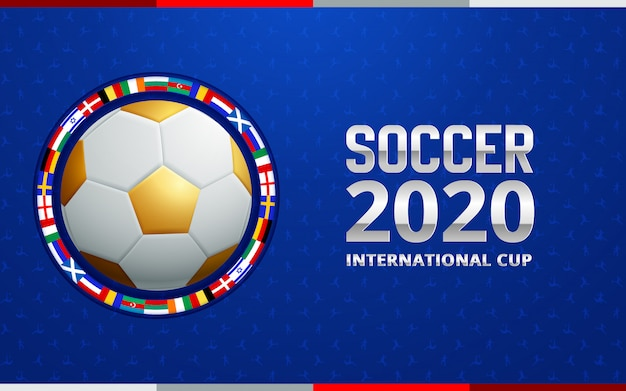 Football 2020 world championship cup background soccer. Premium Vector