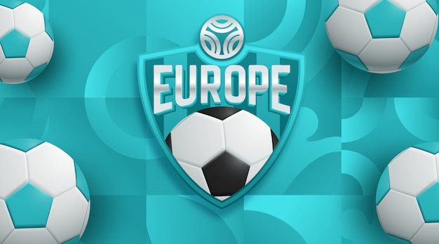 Football 2020 world championship cup background Premium Vector
