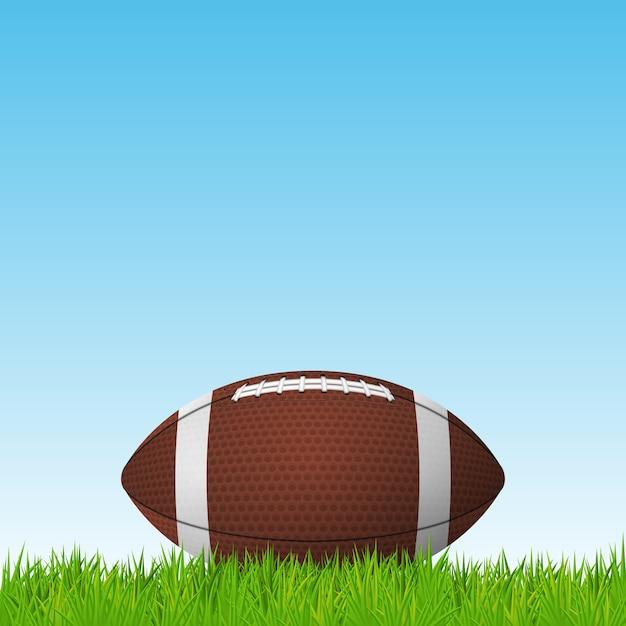 Football ball on a grass field. Premium Vector