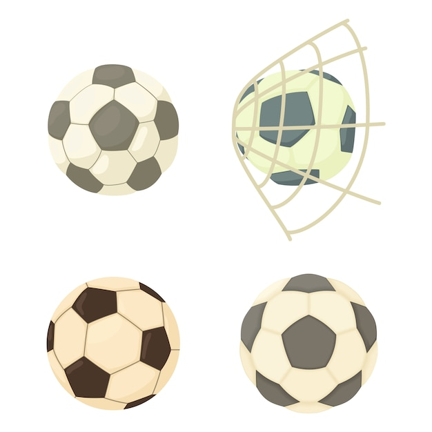 Football ball icon set Premium Vector