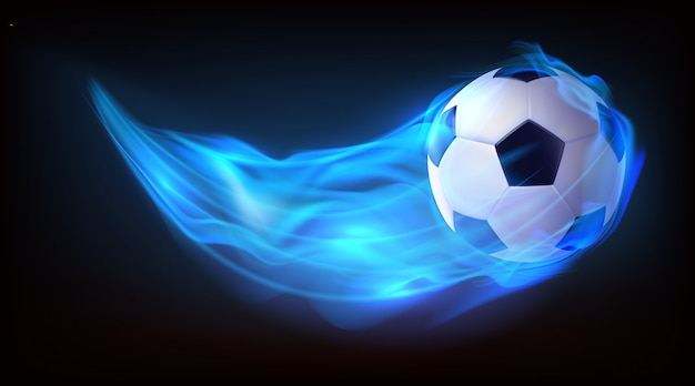 Football balls flying in fire background Free Vector