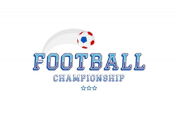 축구 선수권. 원래 글꼴 비문 및 공 로고. 프리미엄 벡터
