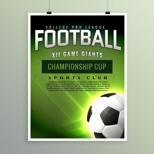 football championship poster template vector free download
