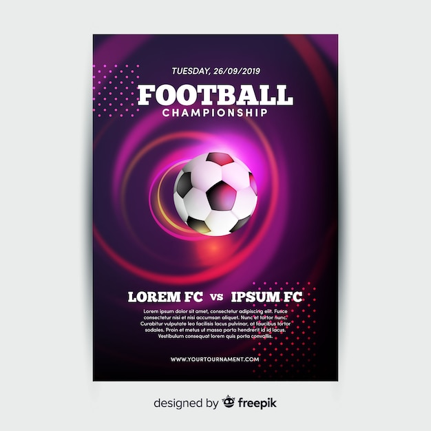 Football championship poster template Free Vector
