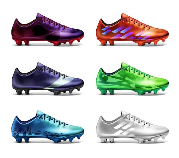 白、緑、赤、青、紫、紫のさまざまな色のプリントが施されたサッカークリート。白い背景で隔離の6つのサッカーブーツ Premiumベクター