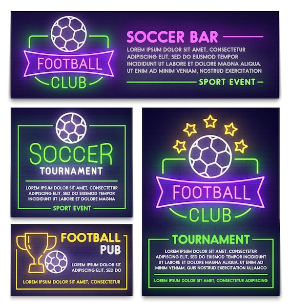 Football club poster, flyer and banner template Premium Vector