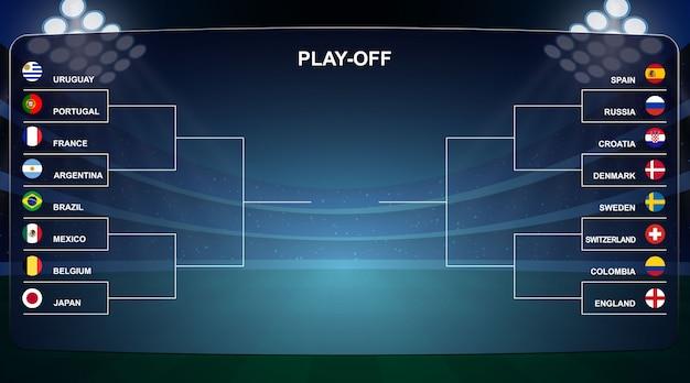 Football cup, playoff tournament bracket vector illustration Premium Vector