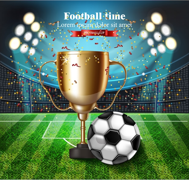 Football cup on stadium with lights Premium Vector