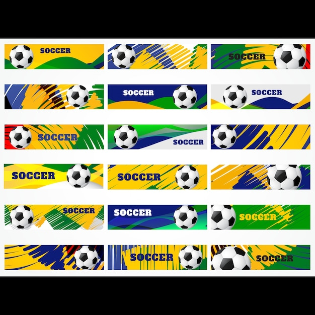 Football design collection in colors of\ brazil