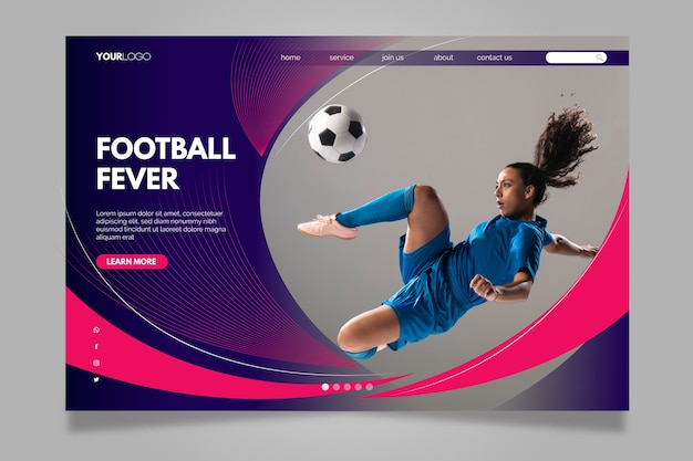 Football fever landing page Free Vector