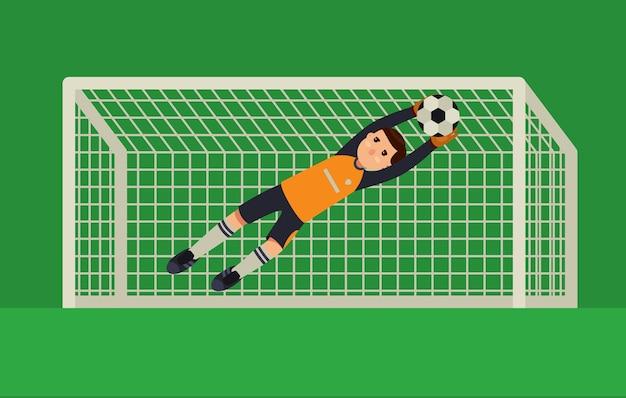 Football goalkeeper catching a ball Premium Vector