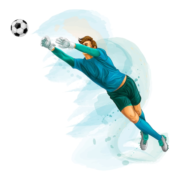 Football goalkeeper jumps for the ball. splash of watercolors. vector realistic illustration of paints Premium Vector