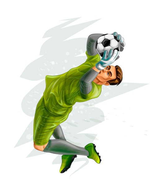 Football goalkeeper jumps for the ball. vector realistic illustration of paints Premium Vector