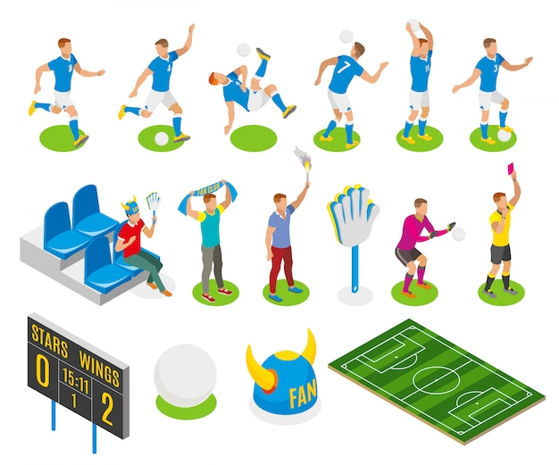 Football isometric set of fans gamers referee characters board with score of match illustration Free Vector