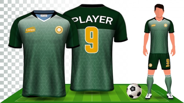 Football kit uniform presentation mockup template Premium Vector