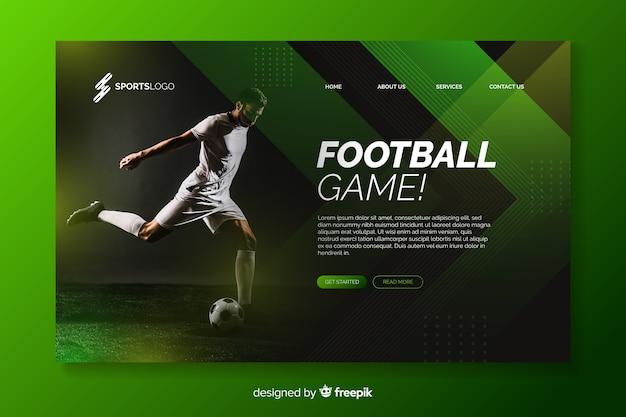 Футбольная целевая страница с фотографией Premium векторы