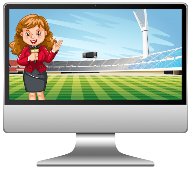 コンピューター画面上のサッカーの試合のニュース 無料ベクター