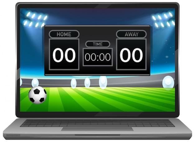 分離されたノートパソコンの画面でサッカーの試合スコアニュース 無料ベクター