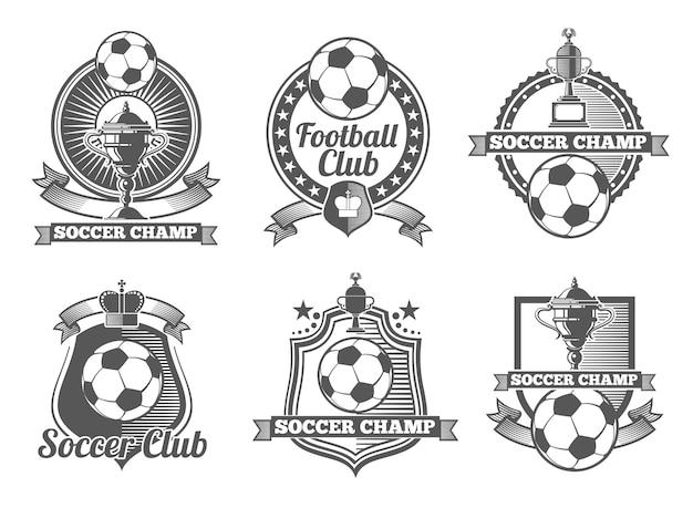 サッカーまたはサッカーのビンテージベクトルラベル、ロゴ、エンブレム。サッカースポーツ、サッカーラベル、サッカーバッジ、サッカーエンブレムイラスト 無料ベクター