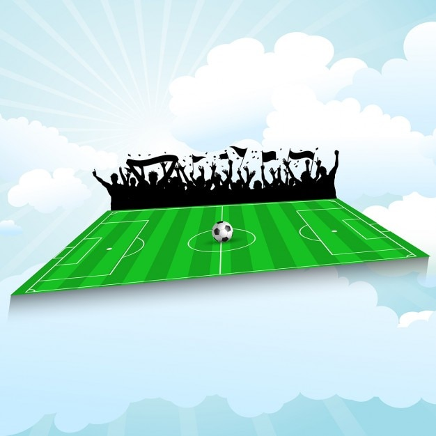 Football pitch background with cheering crowd\ against a blue sky