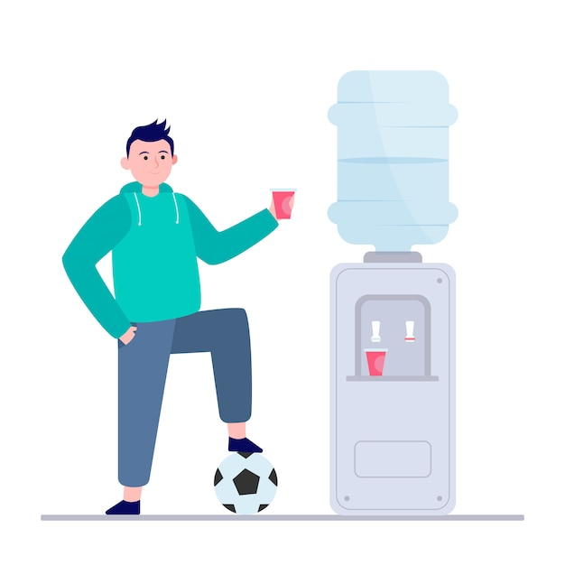 Football player drinking water at cooler Free Vector